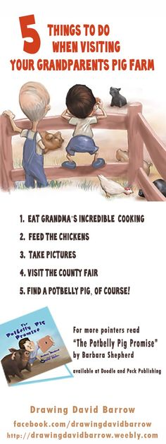 The Potbelly Pig Promise! A children's picture book by Barbara Shepherd, illustrated by David Barrow Available at Doodleandpeck.com #pig #farm #camera #children'sbook #countyfair #grandma #grandpa