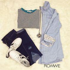 Denim blouse-Romwe