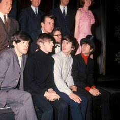 Ringo remembers Cilla Black: Tommy Quickly, Billy J Kramer, Rolf Harris, Cilla Black (in pink dress), Paul McCartney, Ringo Starr, George Harrison, John Lennon - at 'The Beatles' Christmas Show'