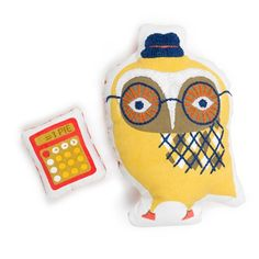 Jonathan Adler geeky owl plush - comes with its own calculator!