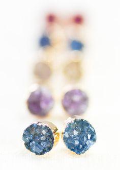 Wehilani+earrings++small+gold+druzy+stud+by+kealohajewelry+on+Etsy,+$55.00