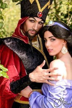 Jafar & Jasmine from Aladdin Cosplayer : Aokiji Cosplay & Tiffany's Workshop Photographer: R.M Photography Jasmine Halloween Costume, Couple Halloween, Halloween Costumes, Jafar Costume, Aladdin Costume, Aladdin Cosplay, Couples Cosplay, Disney Cosplay, Aladdin And Jasmine