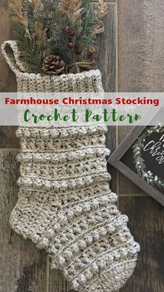 Perfect crochet Christmas stocking pattern Farmhouse style in my opinion although the designer doesn't label it as such. This crochet Christmas stocking definitely has that Farmhouse look to it. Very easy to whip up, makes a great addition to your own Chr Crochet Christmas Stocking Pattern, Crochet Stocking, Crochet Christmas Decorations, Crochet Gifts, Christmas Diy, Diy Crochet, Xmas, Crochet Style, Crochet Christmas Stockings