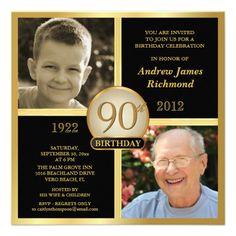 90th Birthday Invitations Then & Now 2 Photos