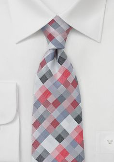 Diamond Check Tie in Red and Silver