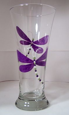 Hand Painted Glass, DragonFly Pilsner