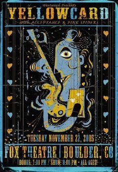 51936ebc8de Original concert poster for Yellowcard at the Fox in Boulder