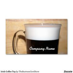 Irish Coffee Top Double-Sided Standard Business Cards (Pack Of Irish Coffee, Company Names, Business Cards, The 100, Food And Drink, Packing, Restaurant, Templates, Drinks