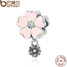 BAMOER 925 Silver Jewelry Poetic Blooms, Mixed Enamels & Clear CZ Heart Charms for Bracelet Accessories for Women PAS284