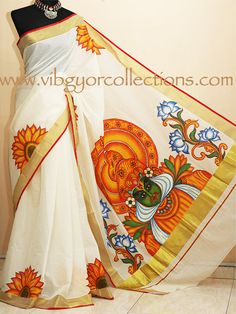 MURAL HAND PAINTED SAREE IN HANDLOOM KASAVU - KATHAKALI DANCER