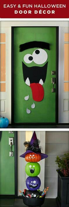 Halloween character door & pumpkin decoration
