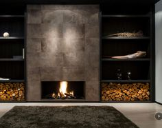 Fireplace with leather tiles.