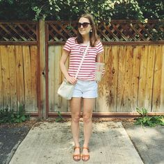 A striped tee + white shorts create the perfect #nautical look