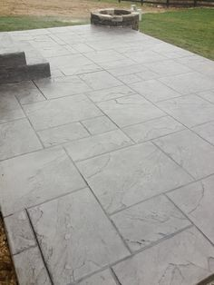 Dublin Ohio Stamped Concrete Patio Project Custom Concrete Plus Concrete Patio Designs, Cement Patio, Backyard Patio Designs, Patio Ideas, Stamped Concrete Patterns, Stamped Concrete Driveway, Concrete Backyard, Driveway Ideas, Concrete Stamping