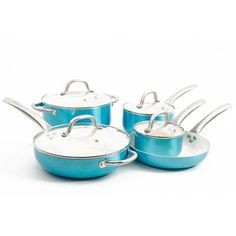 Oster Montecielo 9 Piece Cookware Set Color: Turquoise