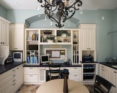 Craft Room Design, Pictures, Remodel, Decor and Ideas - page 119 like the black countertops with white cabinets