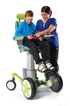 The Chair 4 Life by Renfrew Group International is a modular pediatric power chair or a mix between a power wheelchair and a hi/low chair that can adjust to different heights to allow for appropriate peer interaction