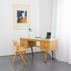 schreibtische 50er Jahre Schreibtisch aus hellem Holz von Ekawerk (Nr. 5734) Karlsruhe Velvet-Point