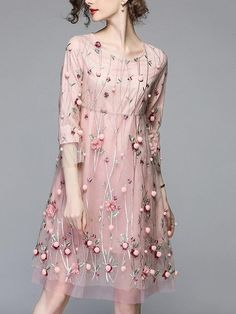 Cheap floral embroidered dress, Buy Quality embroidered dress directly from China sukienki damskie Suppliers: Retro Mesh Pink Floral Embroidered Dress Woman Dress 2018 Spring Summer Loose Vintage Dress Sukienki Damskie Zomer Jurk Dress Brokat, Kebaya Dress, Pink Midi Dress, The Dress, Chiffon Dress, Vestidos Vintage, Vintage Dresses, Robes Midi, Embroidery Dress
