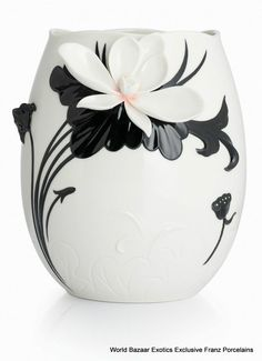 CP00044 Love Ya lotus Franz Porcelain L Vase Flower Design Black White Exclusive