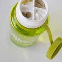 Why did no one think of this sooner? Secret compartment in your Nalgene Pillid - Pill-Lid (get it? Nalgene Bottle, Food Storage Boxes, Storage Containers, Cup With Straw, Stainless Steel Types, Workout Accessories, Cool Gadgets, Kitchen Gadgets, Things To Buy