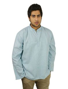 Ethnic Indian Costume Cotton Shirt Blue Stripped Short Kurta XL.Come summer and you want to wear light and cool clothes. Here is an Indian ethnic short kurta shirt for men. Made in handloom woven cotton fabric, the kurta is loose fit and airy. You wear it as a casual dress at home and outdoors.