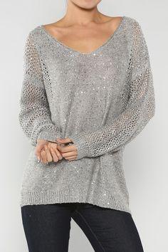 Twinkling V-Neck Sequin Sweater, Grey - Juliette's Jewels