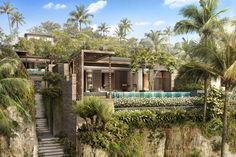 Strategy, Master Planning, Architecture, Landscape and Wimberly Interiors in over 170 countries. Bali Architecture, Tropical Architecture, Residential Architecture, Facade Design, Exterior Design, Exterior Homes, Casa Cook Hotel, Falling Water House, Resort Plan