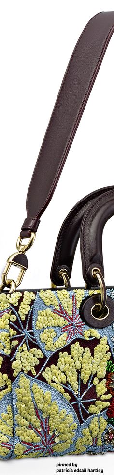 """Dior """"Runway"""" Bag Entirely Embroidered with Sequin Flowers - Winter 2016 Best Handbags, Purses And Handbags, Cristian Dior, Dior Fashion, French Fashion Designers, Best Bags, Lady Dior, Leather Working, Ysl"""