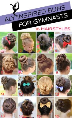 Gymnastics Hairstyles for Competition: Bun Edition - Kids hairstyles - Wettbewerb Ballet Hairstyles, Dance Hairstyles, Little Girl Hairstyles, Braided Hairstyles, Cool Hairstyles, Gymnastics Hairstyles, Teenage Hairstyles, Hairstyle Photos, Toddler Hairstyles