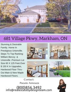 Stunning & Desirable Family Det. Home In Prestigious Unionville. Steps To Top Ranking Schls: William Berczy Ps&Unionville Hs.Premium Lot Size60X125Ft.Over $150K In Upgrades, Hw Flr Thru-Out Main & New Maple Hw Flrs On 2nd Flr&Oak Serene Staircase,Updated Windows Thru Out. Granite Cntrtp, Open Concept Kitchen W/ Ss Applcs,W/O To Patio.Prof.Finished Bsmt W/2Brs&3Pc Full Bath!Beatiuful Bkyd W/Extensive Interlocked Patio!Closed To Main St.Unionville! call @Real Estate By Design Team .