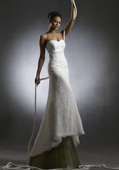 Asymmetrical Mermaid Sweetheart Sash Empire Lace Satin Wedding Gowns