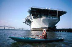 Karen kayaking in Charleston harbor near the USS Yorktown WWII ...