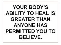 Our mental/physiological/spiritual health plays an important role in physical healing