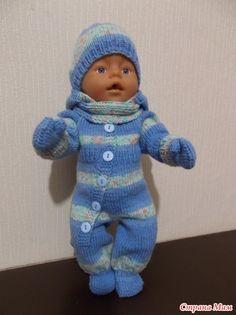 """Вот такой комплект связала я для одной из любимых кукол моей внучки """"почти Бэби Бон"""" Андрейки. Начиналось все с комбинезона. Потом появилась шапочка, шарф и рукавички."""