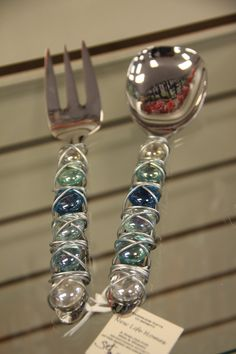 Debbie's glass stone and wire salad serving pieces.