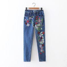 27.92$  Watch here - http://ali51e.shopchina.info/go.php?t=32796801548 - NEW Elegant Flower Embroidery Jeans Women Denim Blue Casual Pants Capris Spring Summer Pockets Straight Jeans Women Bottom C3087 27.92$ #buyonlinewebsite