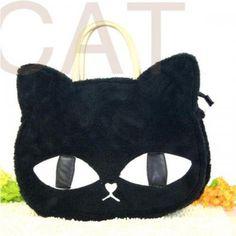 Black Faux Fur Cover Cat Shape Cute Bag