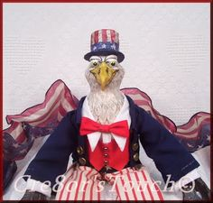 Cre8or'sTouch: OOAK Handmade Folk Art American Eagle Uncle Sam Doll