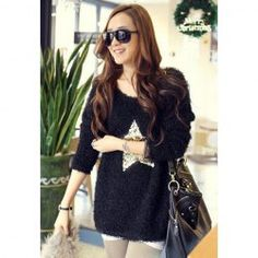 $9.85 Morden Style Sequin Embellished Star Long Sleeves Flocky Artificial Wool Sweaters For Women
