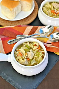 Turkey Noodle Soup: great use for leftover turkey, you can also substitute shredded chicken
