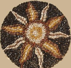 Building Rocks Hana (Flower) Standing Polished Pebble Mosaic Medallion