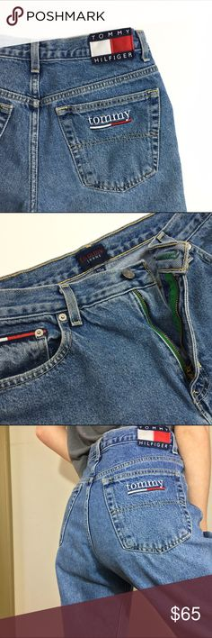 """Vintage Tommy Hilfiger Jeans These vintage Tommy Hilfiger jeans are TO DIE FOR!  The details make these so special— the back patch, the embroidery, the green accents by the zipper— you really couldn't ask for a better pair of jeans. Size 11 with a 32"""" inseam. The waist measures approximately 15-15.5"""" laid flat, so around a 31"""" waist measurement. 10.5"""" front rise. Super bummed that these aren't my size  Tommy Hilfiger Jeans"""