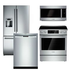Package - Bosch Appliance - 4 Piece Appliance Package - Counter Depth Refrigerator and Gas Range - Stainless Steel Bosch Appliances, Viking Appliances, Vintage Appliances, White Appliances, Kitchen Appliances, Electrical Appliances, Kitchen Ware, Kitchen Reno, Kitchen Cabinets