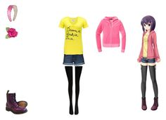 anime girl by mayleneholm on Polyvore featuring BKE lounge, Juicy Couture, Wolford, Paige Denim, Dr. Martens and Tarina Tarantino