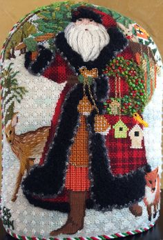 Needlepoint - Melissa Shirley Wildwood Santa by Ginger Brennecke