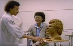 My mom sculpting a bust of my dad 1980s