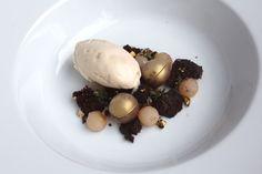 Jules Destrooper buttercrips icecream with roasted pear & brownie by Hot Cuisine de Pierre