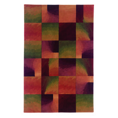 """""""Shadow Boxes"""" rug influenced by early Warhol. 100% wool. Reds, greens and purple combine for a fascinating art rug."""