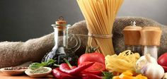 Pasta spaghetti, vegetables and spices, on wooden table, on grey background by Africa Studio, via ShutterStock Sauce For Rice, Italian Pasta, Iftar, Convenience Food, Kefir, Wooden Tables, Foodie Travel, Japanese Food, Italian Recipes